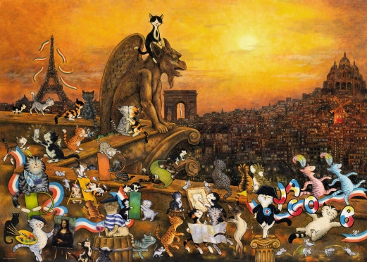 Produktbild zu: Puzzle Jacob - Cats in Paris 1000 Teile